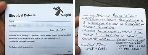 Ausgrid Electrical Defect Notice